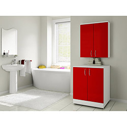 Bestline Mine Çamaşır Makinesi Dolap Seti - Kırmızı