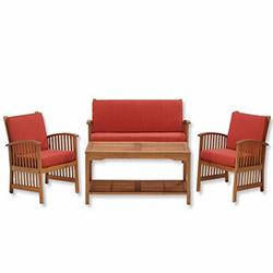 Simple Living Bahçe Oturma Grubu (Minder Hediyeli) - Kırmızı