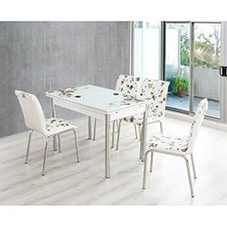 Bestline Brown Yandan Açılır Cam Masa ve Sandalye Takımı (6 Sandalyeli) - Beyaz / Kahverengi