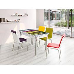 Bestline Colorful Yandan Açılır Cam Masa ve Sandalye Takımı (6 Sandalyeli) - Renkli