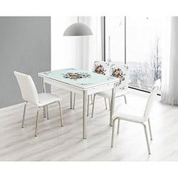 Bestline Flower Yandan Açılır Cam Masa ve Sandalye Takımı (6 Sandalyeli) - Beyaz / Renkli