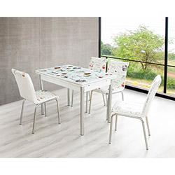 Bestline Kitchenette Yandan Açılır Cam Masa ve Sandalye Takımı (6 Sandalyeli) - Beyaz / Renkli