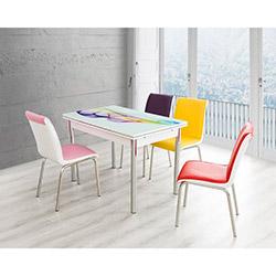 Bestline Rainbow Yandan Açılır Cam Masa ve Sandalye Takımı (6 Sandalyeli) - Beyaz / Renkli