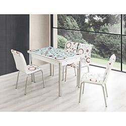 Bestline Ring Yandan Açılır Cam Masa ve Sandalye Takımı (6 Sandalyeli) - Beyaz / Renkli