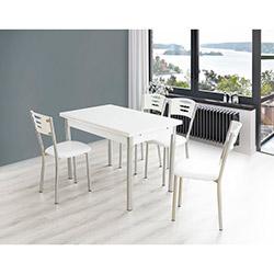Bestline Samba Yandan Açılır Masa ve Sandalye Takımı (6 Sandalyeli) - Beyaz