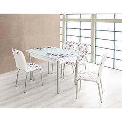 Bestline Violet Yandan Açılır Cam Masa ve Sandalye Takımı (6 Sandalyeli) - Beyaz / Renkli