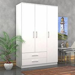 Comfy Home Kale 3 Kapılı 2 Çekmeceli Gardırop - Parlak Beyaz