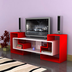 Comfy Home Yıldız Tv Ünitesi - Kırmızı / Parlak Beyaz