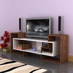 Comfy Home Yıldız Tv Ünitesi - Ceviz / Parlak Beyaz