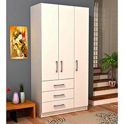 Comfy Home 3 Kapılı 3 Çekmeceli Gardırop - Beyaz