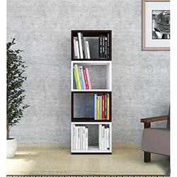 Minar Anze Döner Kitaplık - Naturel Beyaz / Venge