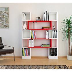 Minar Hope Kitaplık - Naturel Beyaz / Kırmızı