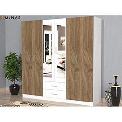 Minar Sei 6 Kapılı 2 Çekmeceli Aynalı Gardırop - Ceviz / Beyaz