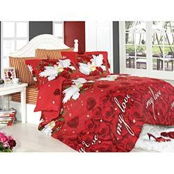 Flores Kırmızı Çift Kişilik Nevresim Takımı