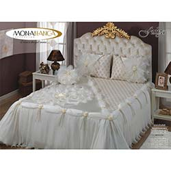 Monabianca Fulya Çift Kişilik Yatak Örtüsü - Krem