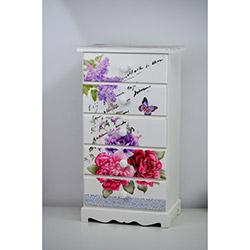 Cosiness Çiçek Desenli Lake 5 Çekmeceli Şifonyer - Renkli