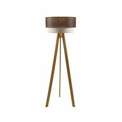 Crea Lighting Doubleshade Wood Tripod Lambader - Naturel / Rustik