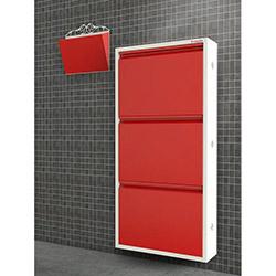Pappuchbox Metal 3'lü Ayakkabılık 1010 (Posta Kutusu Hediyeli) - Beyaz / Kırmızı
