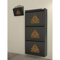 Pappuchbox Metal 3'lü Ayakkabılık 5001 (Posta Kutusu Hediyeli) - Siyah