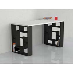 Matte Labirent Çalışma Masası - Beyaz-Siyah