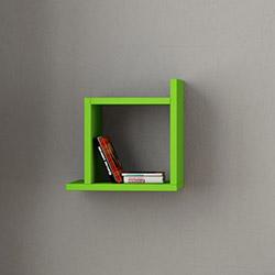 Decortie Kutu Duvar Rafı - Yeşil