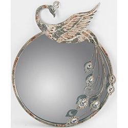 Alldeco Tavus Kuşu Figürlü Metal Ayna - 60x46x4 cm