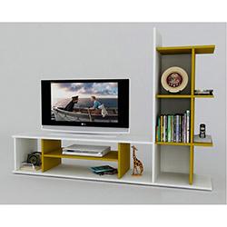 Decoropia Monet Tv Sehpası - Beyaz / Hardal