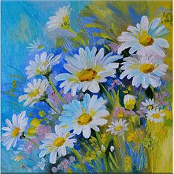 Arte P1336 Çiçekler Kanvas Tablo - Beyaz - 30x30 cm