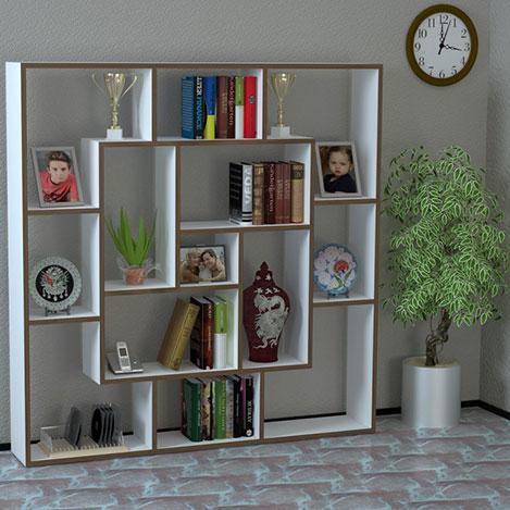 House Line Mariko Kitaplık - Beyaz / Ceviz