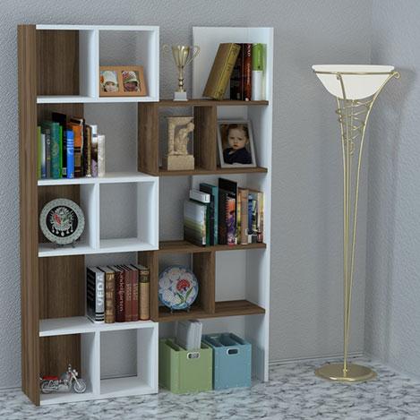 House Line Rogatus Kitaplık - Beyaz / Ceviz