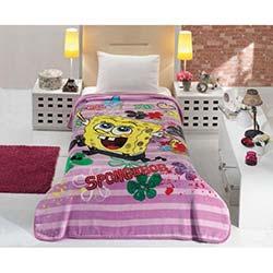 Mink Lisanslı Spongebob Tek Kişilik Battaniye - 6 Pembe
