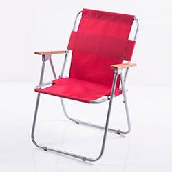 Ellnaz Ahşap Kollu Katlanır Piknik Sandalyesi - Kırmızı