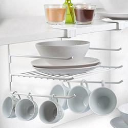 Culina 3 Katlı Bardak Askılı Metal Dolap İçi Organizer Raf Sistemi - Beyaz