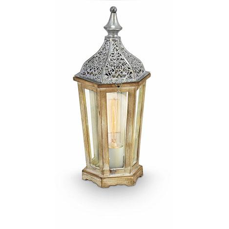 Eglo Kinghorn Masa Lambası - Gümüş / Ahşap