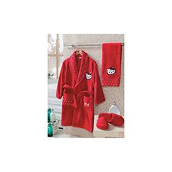 Hello Kitty Lisanslı S Bornoz Seti (Kırmızı) - 12/18 Yaş