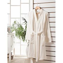 Rosemus Solid L/XL Kimono Bornoz - Krem