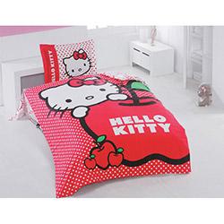 Hello Kitty Lisanslı 002 Apple Tek Kişilik Nevresim Takımı
