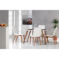 Comfy Home Retro Yemek Masası Takımı - Beyaz / Kahverengi
