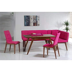 Comfy Home Amsterdam Ekbank Yemek Masası Takımı - Pembe / Kahverengi
