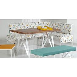 Comfy Home Barselona Ekbank Yemek Masası Takımı - Beyaz / Renkli