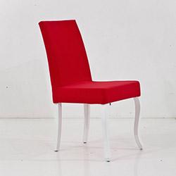 Comfy Home Beyaz Ayaklı Lükens Sandalye - Kırmızı