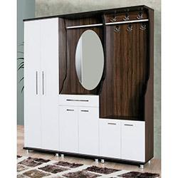 Comfy Home Nilüfer Portmanto - Beyaz / Ceviz