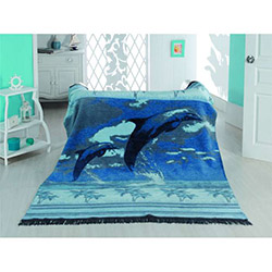 Suave Cotton Dolphin Tek Kişilik Battaniye - Mavi