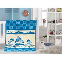 Saçlı Yunuslar Soft Bebek Battaniyesi - Mavi