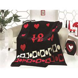Saçlı Love Çift Kişilik Battaniye - Siyah/Kırmızı