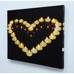 Kalp Mum Led Kanvas Tablo - 40 x 50 cm