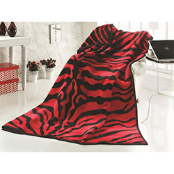 Saçlı Zebra Tek Kişilik Battaniye - Kırmızı