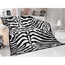 Saçlı Zebra Tek Kişilik Battaniye - Siyah