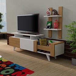 Just Home İkon Tv Ünitesi - Teak / Beyaz