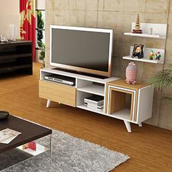 Just Home Lena Zigonlu Tv Ünitesi - Teak / Beyaz